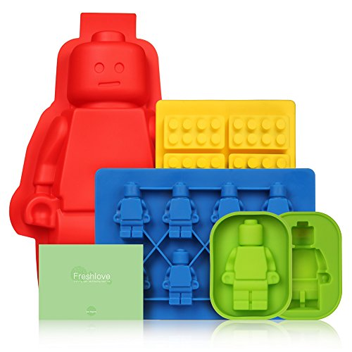 Freshlove 5 Set Silicone Mold Silicone Cake or Jelly Mold & Ice Cube Tray or Candy,jelly &Chocolates Silicone Mold for Lego Lovers