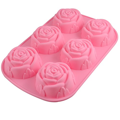 Xmas 6-Cavity Rose Silicone Mould Ice Cube Chocolate Cake Cupcake Soap Molds DIY