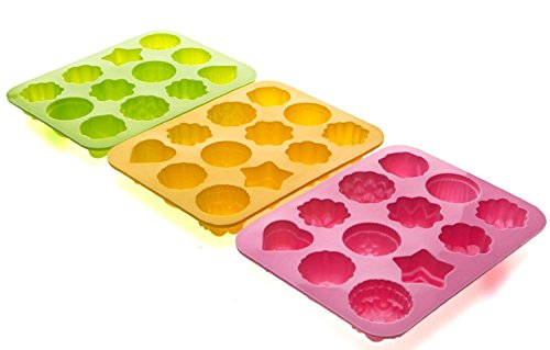 Bekith 12 Cavity Flowers Silicone Non Stick Chocolate Cake Bread Jelly Baking Mould Candy Making Molds (Set of 3) Reviews