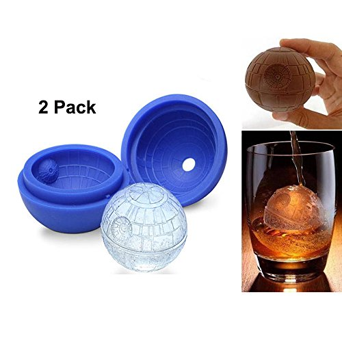 Joyoldelf 2 Pack Silicone Mold Ice Cube Tray Ball Tray Whiskey Baking Chocolate Soap For Star Wars Lovers or Party Theme