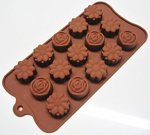Silicone Chocolate Mould Tray Round Icing Sugar Craft Cake Jelly Baking Ice – Flower & Rose Shape