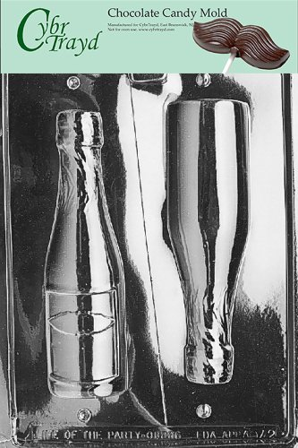 Cybrtrayd AO042 Large Champagne Bottle Chocolate Candy Mold with Exclusive Copyrighted Chocolate Molding Instructions