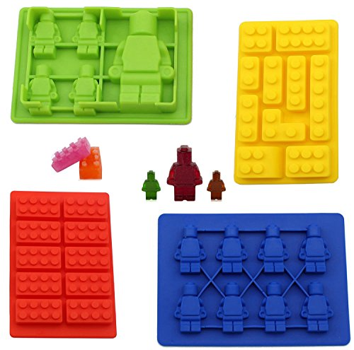 Joyoldelf Silicone Candy Building Brick Mini Figures Ice Tray Candy Chocolate Soap Treat Fondat Crayons Mold Party Favors Theme Small Medium Cupcake Cake Toppers – Set of 4