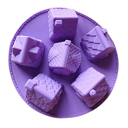 Ludan 6 Cavities Mini House Silicone DIY Non Stick High Teperature Resistance Cake Decorating Mold,Pudding Ice Suger Chocolate Soap Mould