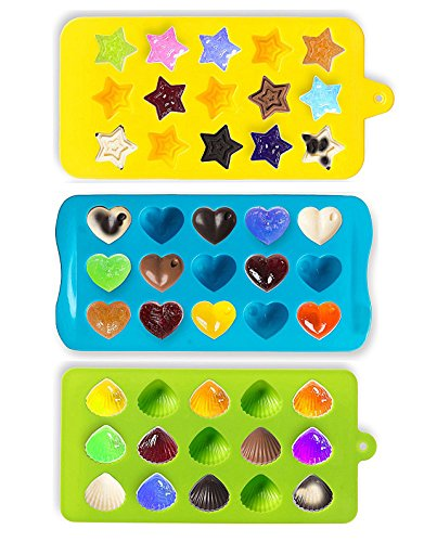 Joyoldelf Candy Molds & Ice Cube Trays – Hearts, Stars & Shells – Silicone Chocolate Mold – Fun, Toy Kids Set – Use for Cakes, Chocolate, Ice cream, Tarts, Muffins, Candles, Soaps, Jello, Mousses