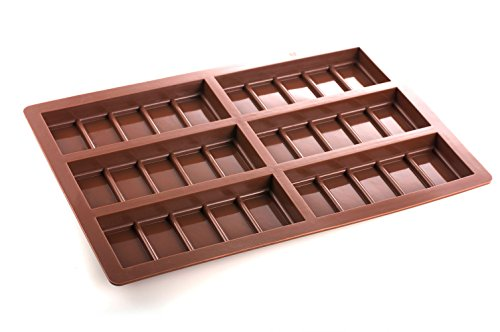 6 Small Rectangle 5 Segment Chocolate Bar Silicone Mold