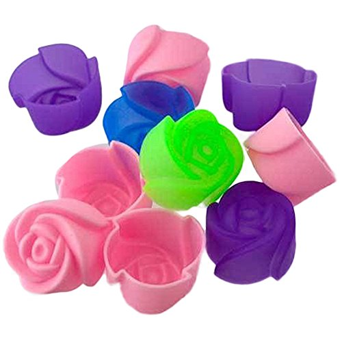 10 Silicone Rose Cupcake Moulds