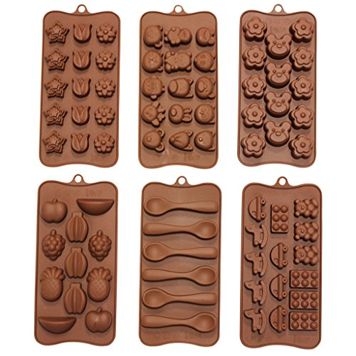 Curtzy Set of 6 Kids Themed Chocolate Mold Trays